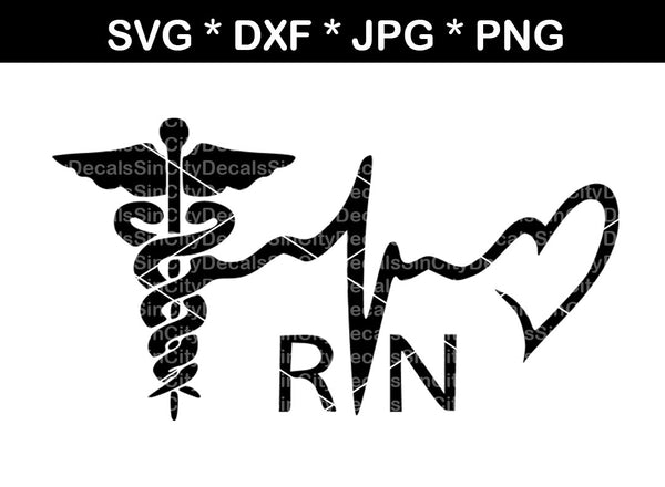 Nurse, RN, Medical, staff, wings, heartbeat, digital download, SVG, DXF, cut file, personal, commercial, use with Silhouette Cameo, Cricut and Die Cutting Machines