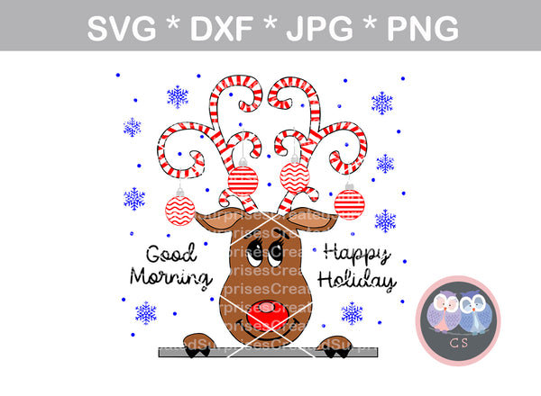 Reindeer, Happy Holiday, candy cane, ornament, cute, Christmas, digital download, SVG, DXF, cut file, personal, commercial, use with Silhouette Cameo, Cricut and Die Cutting Machines
