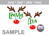 Rudolph, Antlers, Name (not included), Nose, digital download, SVG, DXF, cut file, personal, commercial, use with Silhouette Cameo, Cricut and Die Cutting Machines