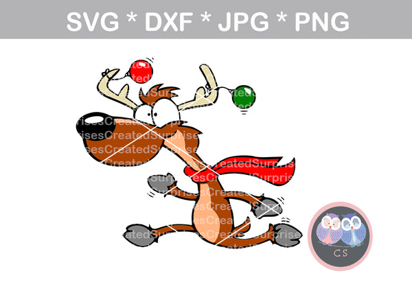 Running Reindeer, Christmas, digital download, SVG, DXF, cut file, personal, commercial, use with Silhouette Cameo, Cricut and Die Cutting Machines