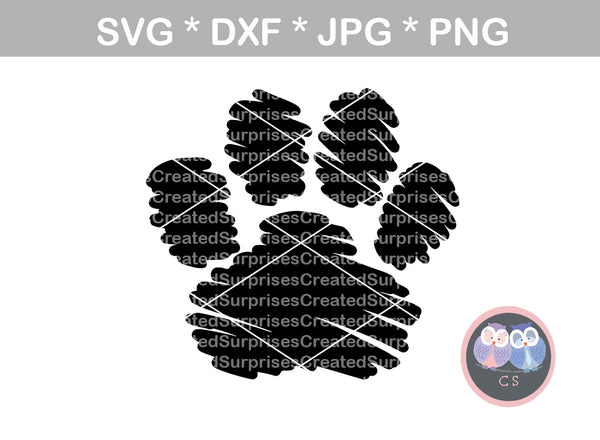 Scribble Paw, cute, claw, animal footprint, digital download, SVG, DXF, cut file, personal, commercial, use with Silhouette Cameo, Cricut and Die Cutting Machines
