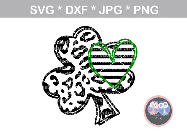 Shamrock, Heart, clover, St Pattys Day, digital download, SVG, DXF, cut file, personal, commercial, use with Silhouette Cameo, Cricut and Die Cutting Machines
