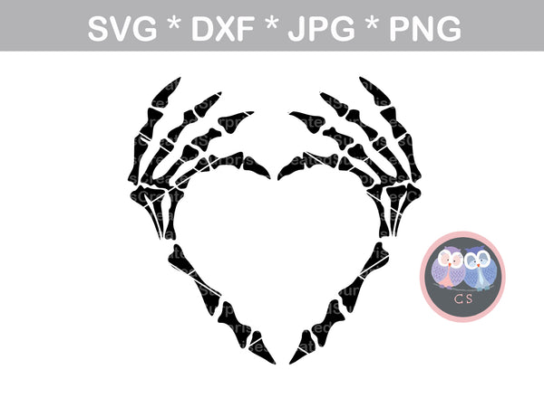 Skeleton heart hands, Halloween, digital download, SVG, DXF, cut file, personal, commercial, use with Silhouette Cameo, Cricut and Die Cutting Machines