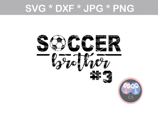 Soccer Brother, ball, soccerball, digital download, SVG, DXF, cut file, personal, commercial, use with Silhouette Cameo, Cricut and Die Cutting Machines