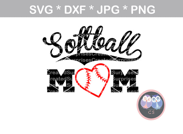 Softball Mom Heart Ball Ball Softball Digital Download