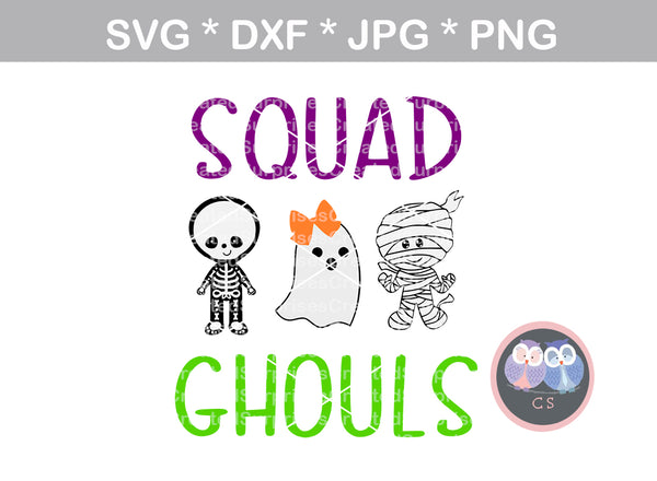 Squad Ghouls, Skeleton, Ghost, Mummy, Halloween, digital download, SVG, DXF, cut file, personal, commercial, use with Silhouette Cameo, Cricut and Die Cutting Machines