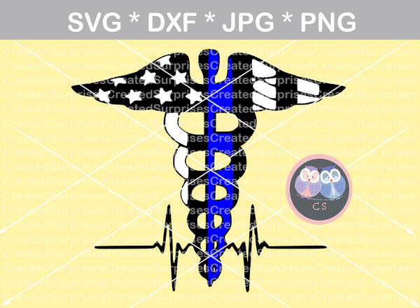 Police, Medical, staff, wings, heartbeat, digital download, SVG, DXF, cut file, personal, commercial, use with Silhouette Cameo, Cricut and Die Cutting Machines