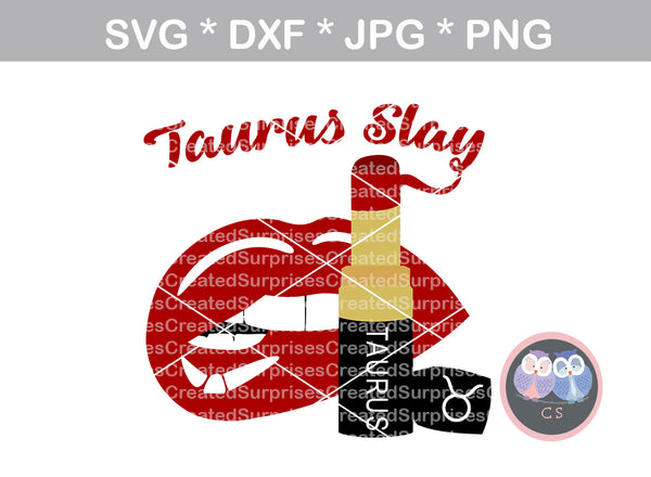 Taurus Slay, biting Lips, lipstick, digital download, SVG, DXF, cut file, personal, commercial, use with Silhouette Cameo, Cricut and Die Cutting Machines