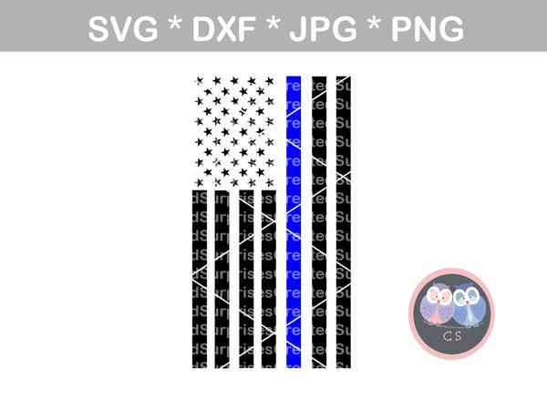 Thin blue line, Police, heart, Vertical, flag, Hero, digital download, SVG, DXF, cut file, personal, commercial, use with Silhouette Cameo, Cricut and Die Cutting Machines