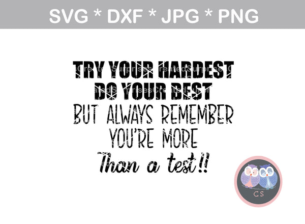 Try your hardest, do your best, always remember, youre more than a test, motivational, digital download, SVG, DXF, cut file, personal, commercial, use with Silhouette Cameo, Cricut and Die Cutting Machines