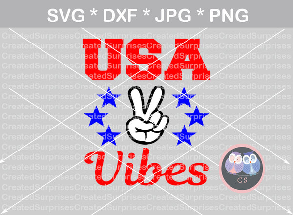 USA Vibes, peace sign, hand, 4th of July, Stars, digital download, SVG, DXF, cut file, personal, commercial, use with Silhouette Cameo, Cricut and Die Cutting Machines