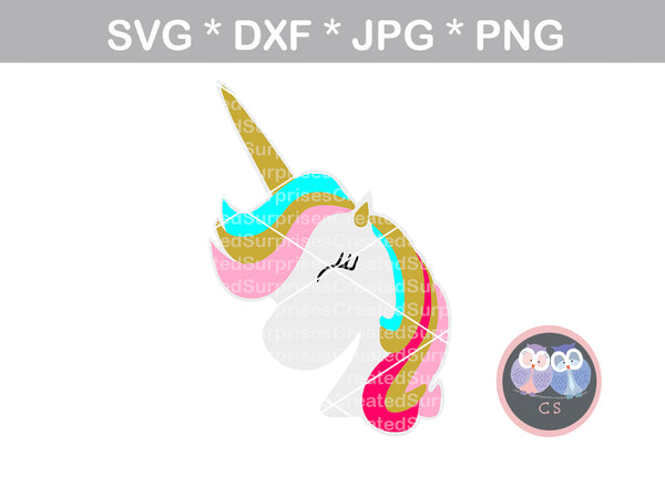 Unicorn head, horn, face, cute, animal, digital download, SVG, DXF, cut file, personal, commercial, use with Silhouette Cameo, Cricut and Die Cutting Machines