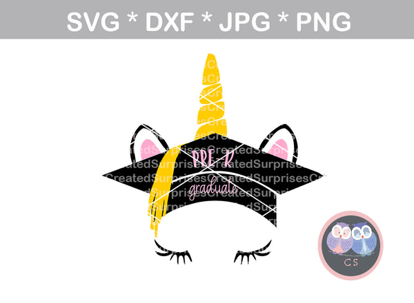 Pre-K, preschool, grad, graduate, unicorn, school, digital download, SVG, DXF, cut file, personal, commercial, use with Silhouette Cameo, Cricut and Die Cutting Machines