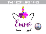 Unicorn, horn, face, cute, animal, digital download, SVG, DXF, cut file, personal, commercial, use with Silhouette Cameo, Cricut and Die Cutting Machines