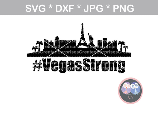 #VegasStrong, VegasStrong, Vegas, Cityscape, support, digital download, SVG, DXF, cut file, personal, commercial, use with Silhouette Cameo, Cricut and Die Cutting Machines