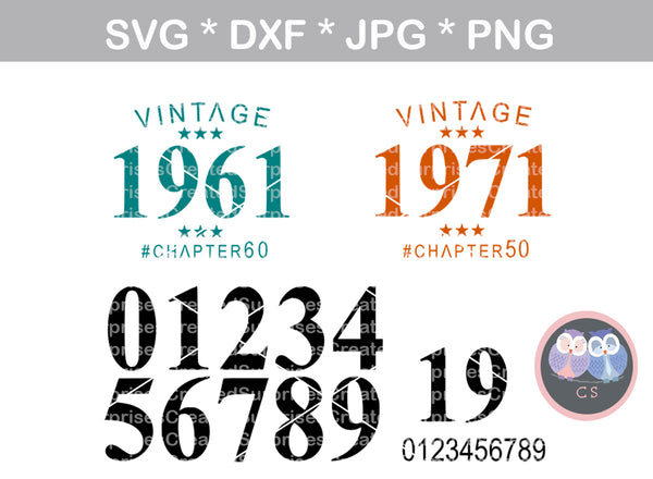 Vintage, Birth Year, Chapter Age, (all numbers included) Birthday, Date, digital download, SVG, DXF, cut file, personal, commercial, use with Silhouette, Cricut and Die Cutting Machines