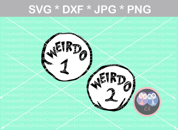 Weirdo 1, Weirdo 2, funny, numbers 0-9, digital download, SVG, DXF, cut file, personal, commercial, use with Silhouette Cameo, Cricut and Die Cutting Machines