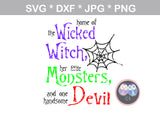 Wicked Witch, Monsters, Devil, Halloween, digital download, SVG, DXF, cut file, personal, commercial, use with Silhouette Cameo, Cricut and Die Cutting Machines