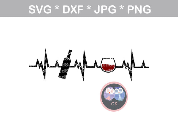 Wine lifeline, heartbeat, bottle, glass, label, digital download, SVG, DXF, cut file, personal, commercial, use with Silhouette Cameo, Cricut and Die Cutting Machines