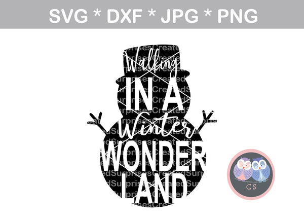 Snowman, Walking in a Winter Wonderland, christmas, digital download, SVG, DXF, cut file, personal, commercial, use with Silhouette Cameo, Cricut and Die Cutting Machines