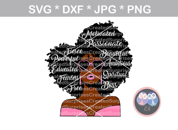 Worded, wild hair, girl, Diva woman, glasses, digital download, SVG, DXF, cut file, personal, commercial, use with Silhouette Cameo, Cricut and Die Cutting Machines
