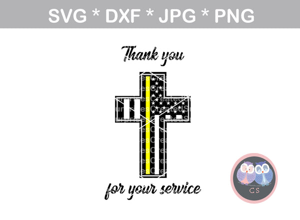 Thin yellow line, cross, Dispatcher, Police, flag, Hero, thank you, service, digital download, SVG, DXF, cut file, personal, commercial, use with Silhouette Cameo, Cricut and Die Cutting Machines