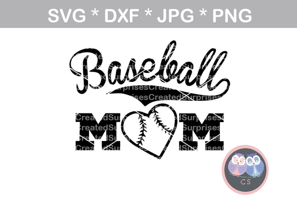 Baseball Mom, Heart ball, ball, baseball, digital download, SVG, DXF, cut file, personal, commercial, use with Silhouette Cameo, Cricut and Die Cutting Machines