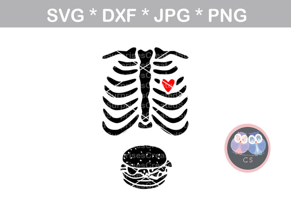 Ribs with Burger, Halloween, ribs, costume, digital download, SVG, DXF, cut file, personal, commercial, use with Silhouette Cameo, Cricut and Die Cutting Machines