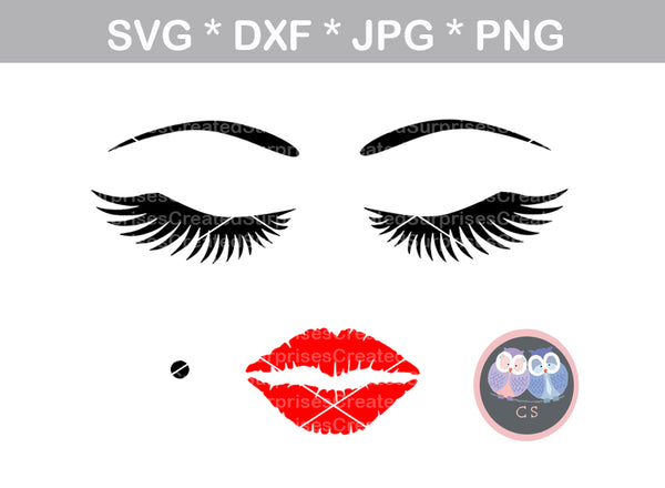 Face, lips, lashes, makeup, digital download, SVG, DXF, cut file, personal, commercial, use with Silhouette Cameo, Cricut and Die Cutting Machines