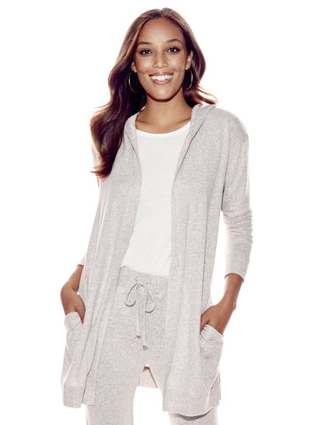 Soho Street - Soft Knit Hooded Cardigan in Medium Taupe