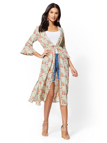 Floral Bell-Sleeve Duster Jacket in Paper White