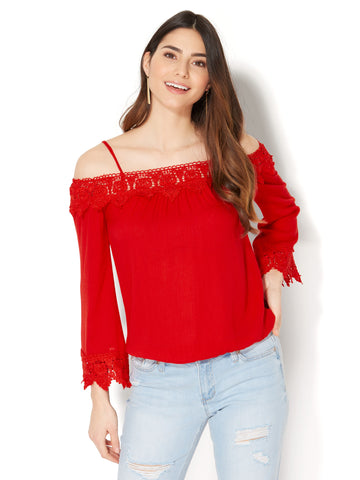 Off-The-Shoulder Crochet-Trim Blouse in Sienna Blush