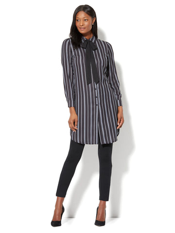 Bow-Accent Tunic Shirt - Stripe in Black
