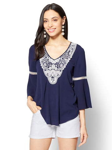 Crochet-Trim Bell Sleeve Blouse in Grand Sapphire