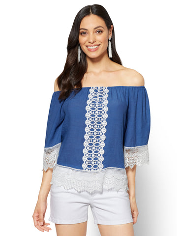 Lace-Trim Off-The-Shoulder Blouse in Rhapsody Blue