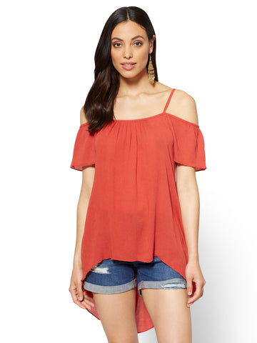 Hi-Lo Off-The-Shoulder Blouse in Spiced Curry