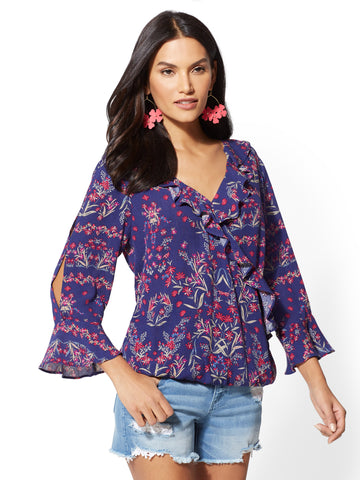 Floral Bell-Sleeve Wrap Blouse in Grand Sapphire