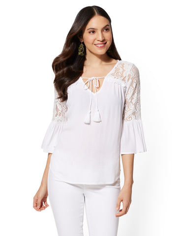 Lace-Trim & Ruffled Peasant Blouse in Paper White