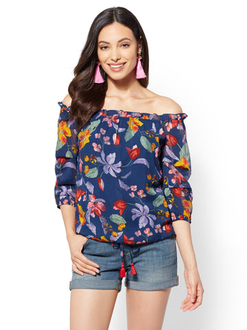 Navy Floral Off-The-Shoulder Blouse in Grand Sapphire
