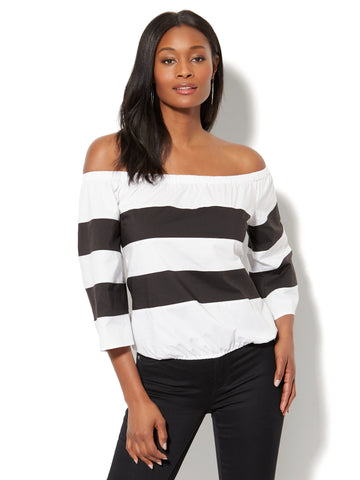 7th Avenue - Madison Stretch Shirt - Colorblock Off-The-Shoulder in Black