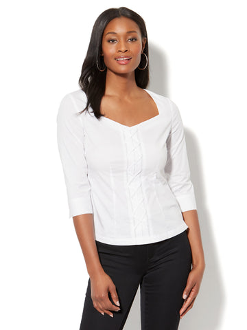 7th Avenue - Madison Stretch Shirt - Lace-Up in Paper White