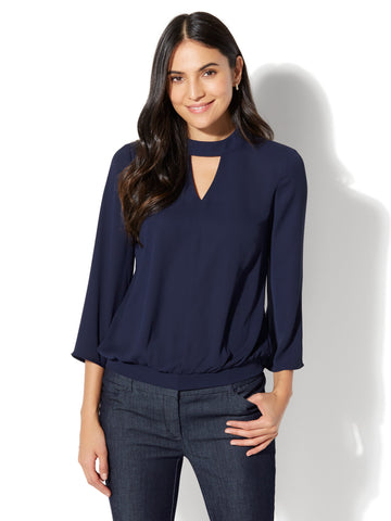 7th Avenue - Keyhole Mock-Neck Blouse in Grand Sapphire