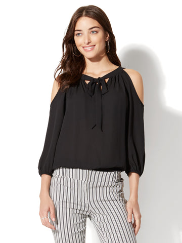 7th Avenue - Cold-Shoulder Tie-Front Blouse in Black
