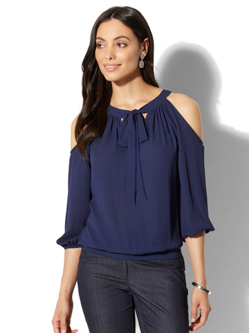 7th Avenue - Cold-Shoulder Tie-Front Blouse in Grand Sapphire