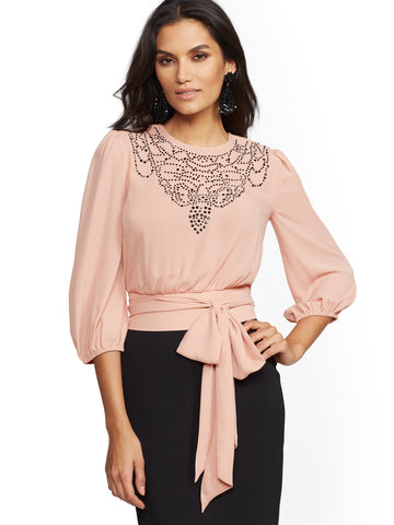 Studded Belted Blouse in Canyon Clay