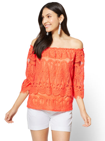 Lace Off-The-Shoulder Blouse in Coral
