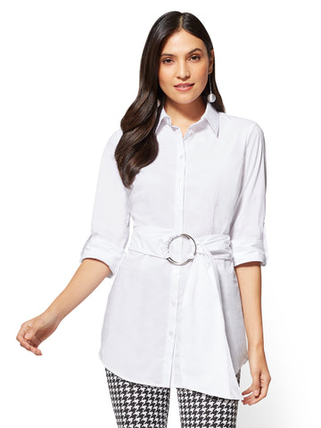 Belted Poplin Shirt in Optic White