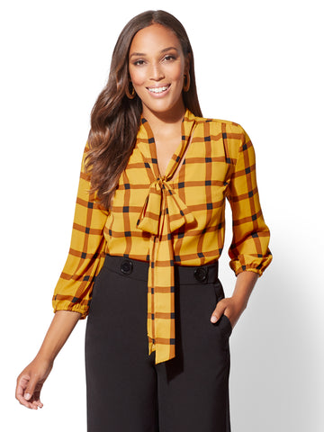 7th Avenue - Plaid Bow-Accent Blouse in Gold Exchange