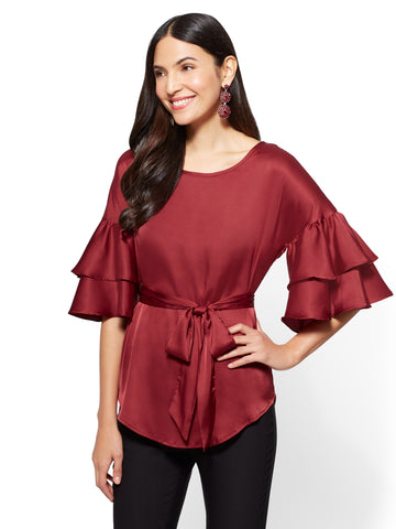 7th Avenue - Ruffled-Sleeve Satin Blouse in Berry Crush