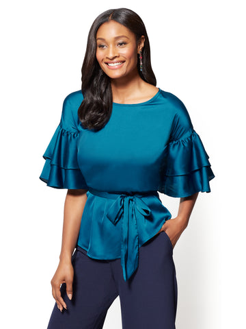 7th Avenue - Ruffled-Sleeve Satin Blouse in Blue Topaz